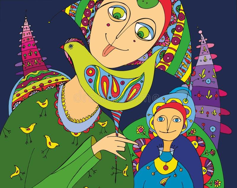 pojkegodisflicka royaltyfri illustrationer