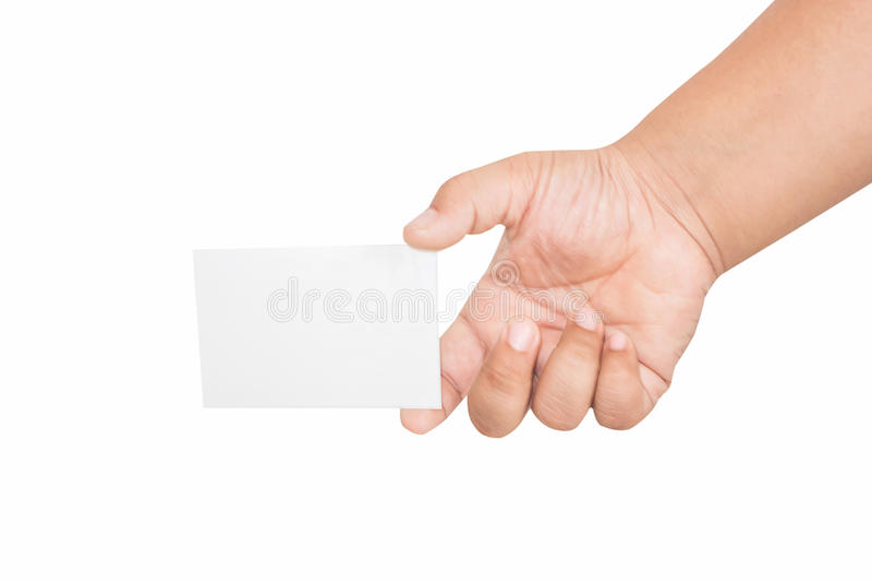 Pojkehand som rymmer det tomma kortet som isoleras royaltyfri foto