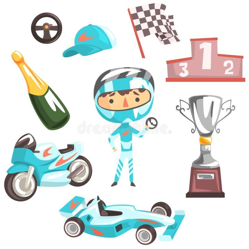 Pojkehastighetsracerbil, illustration för ockupation för ungeframtidsdröm yrkesmässig med släkt med yrkeobjekt vektor illustrationer