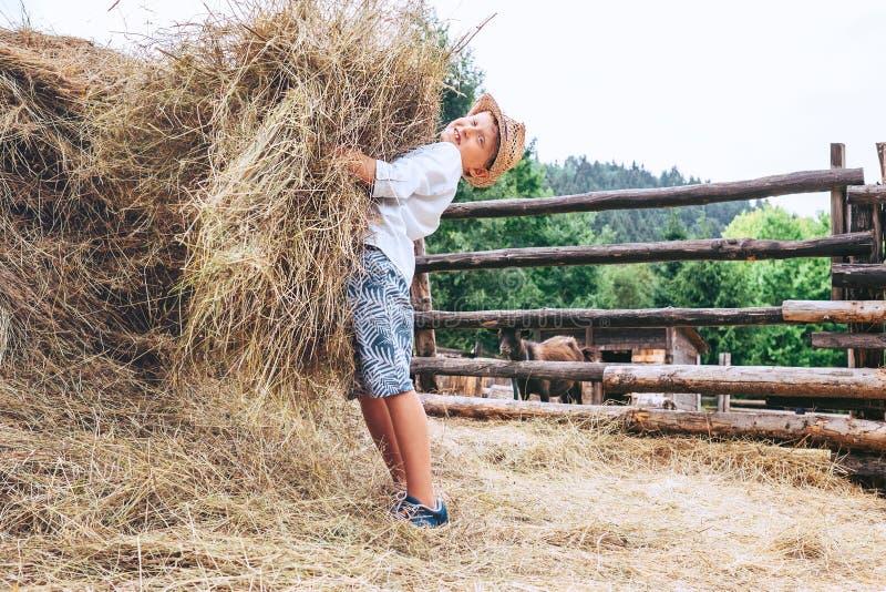 Pojkehjälp på lantgård Kommer med höet för lantgårddjur fotografering för bildbyråer