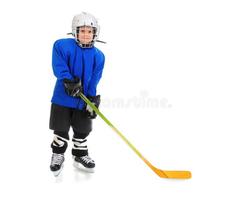 pojkehockey little spelare arkivfoton