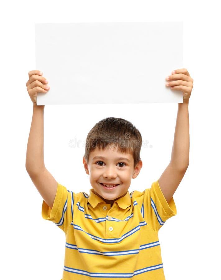 pojkeholdingaffisch arkivbild
