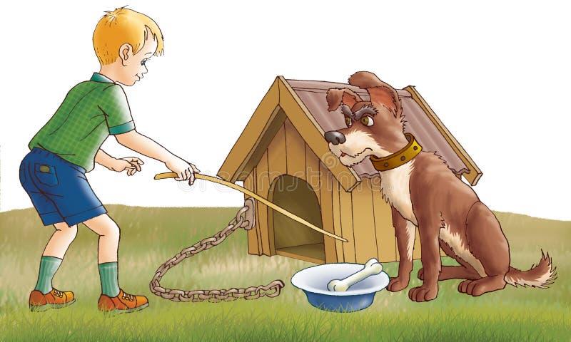 pojkehund royaltyfri illustrationer