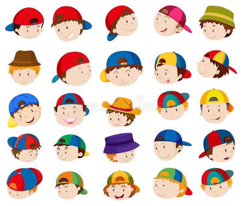 Pojkehuvud med ansiktsuttryck vektor illustrationer