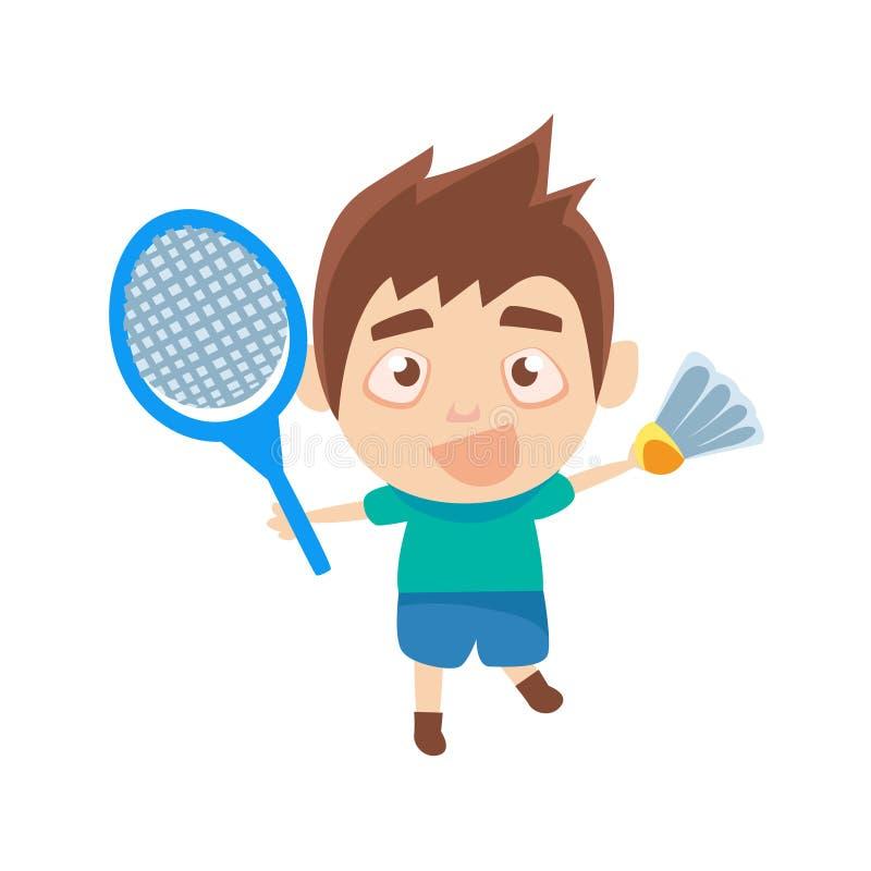 Pojkeidrottsman som spelar badmintondelen av barnsportar som utbildar serier stock illustrationer