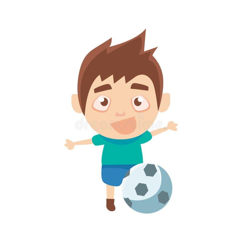 Pojkeidrottsman som spelar fotbolldelen av barnsportar som utbildar serier av vektorillustrationen stock illustrationer