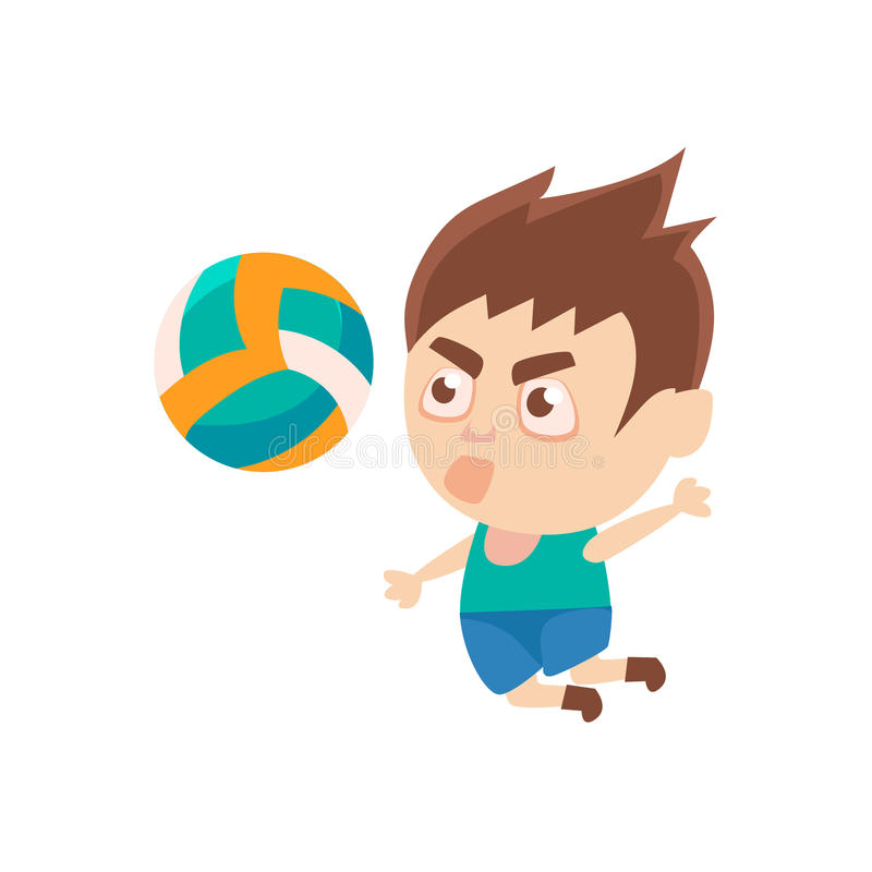 Pojkeidrottsman som spelar volleybolldelen av barnsportar som utbildar serier av vektorillustrationer stock illustrationer