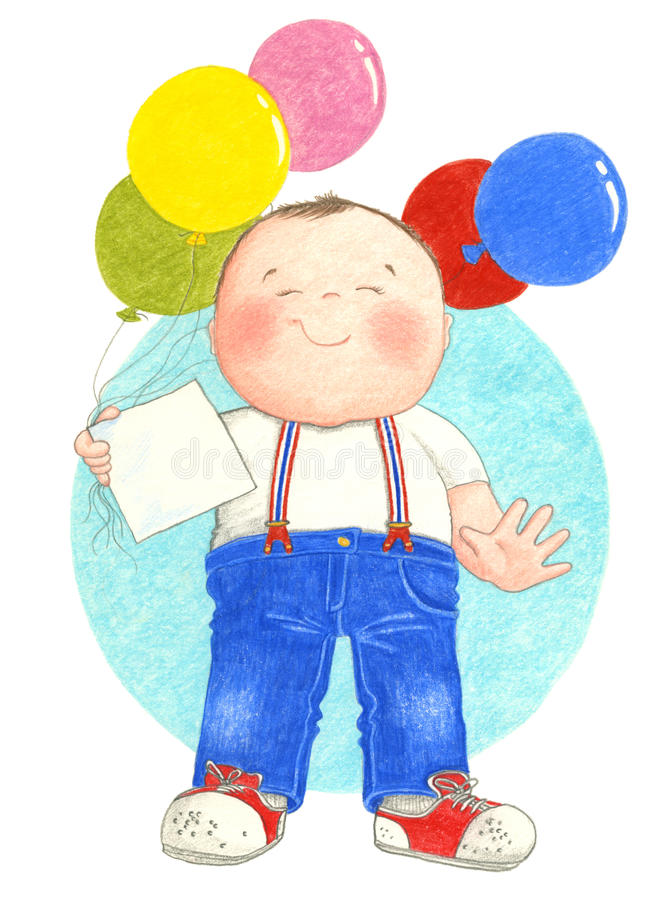 Pojkeinnehavballonger royaltyfri illustrationer