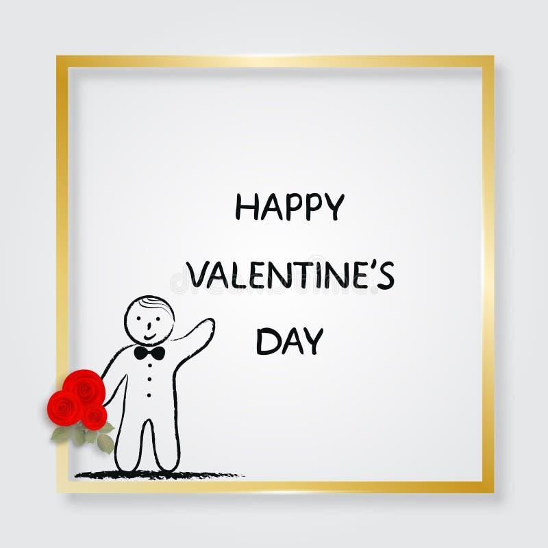 Pojkeinnehavbukett av rosor guld- ram illustration s för hjärta för green för dreamstime för kortdagdesignen stylized valentinvek stock illustrationer