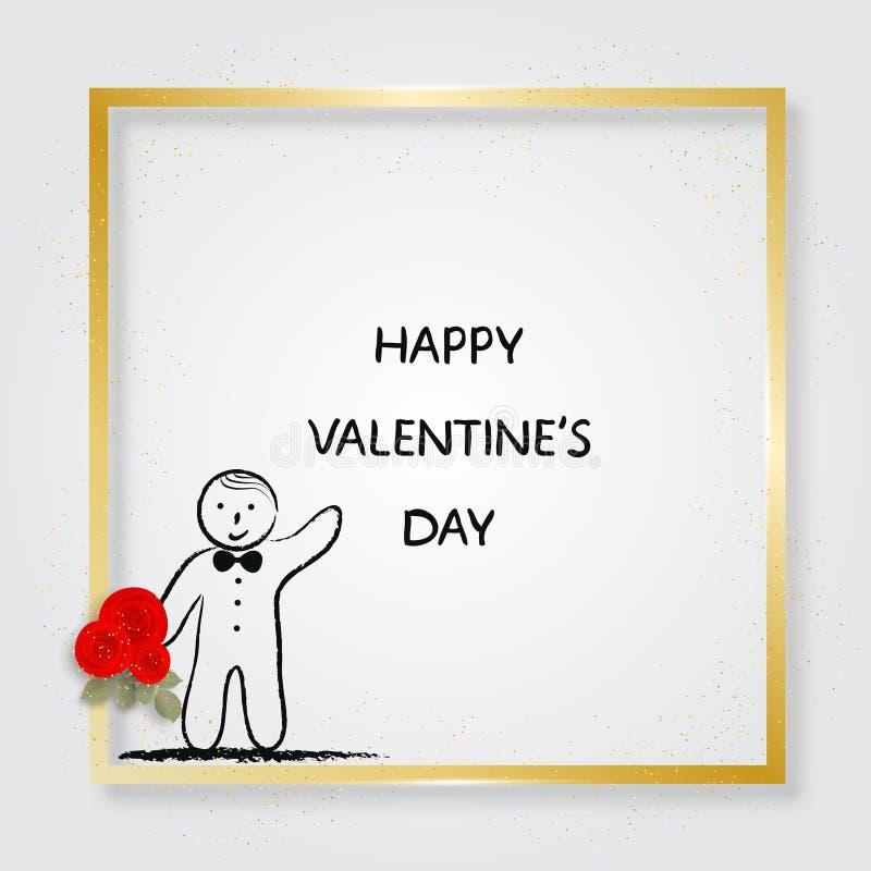 Pojkeinnehavbukett av rosor guld- ram illustration s för hjärta för green för dreamstime för kortdagdesignen stylized valentinvek vektor illustrationer