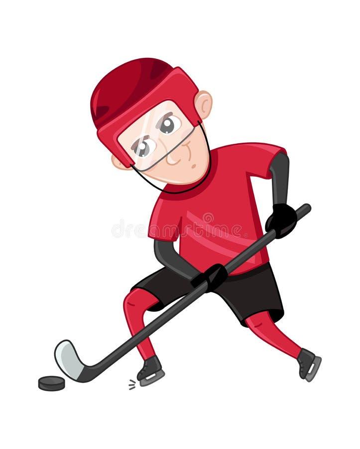Pojkeishockeyspelare i sportlikformig royaltyfri illustrationer