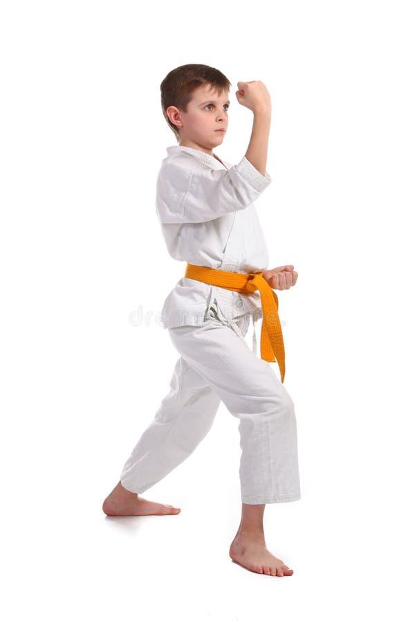 pojkekarate little övning arkivbild