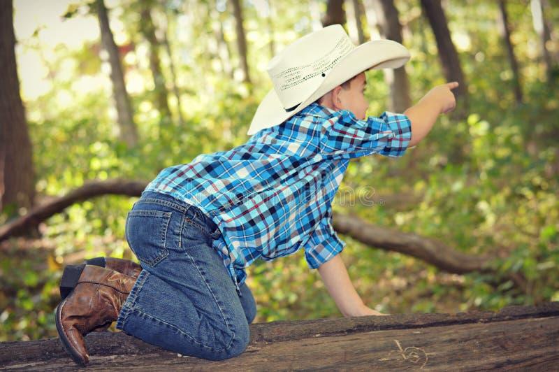 Pojkekrypning på att peka för trädstam royaltyfria bilder