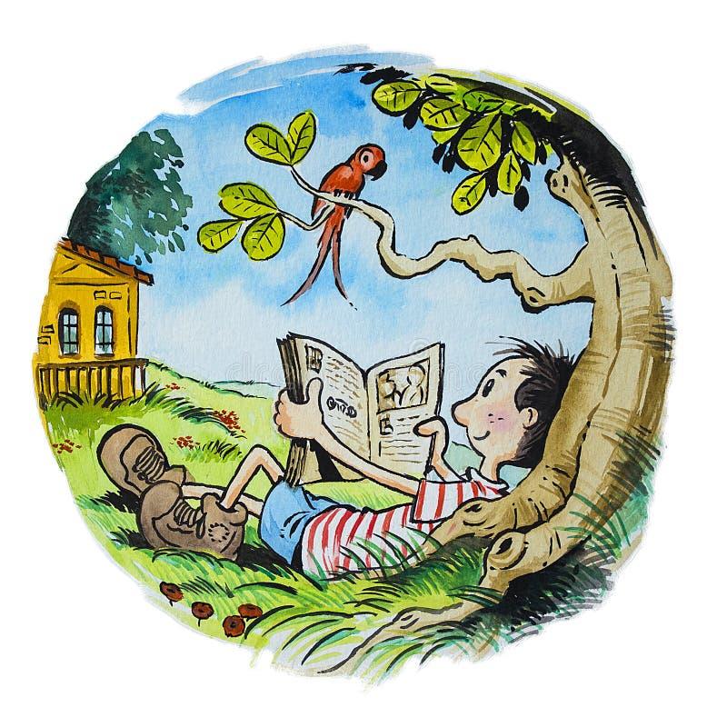 Pojkeläsning under träd royaltyfri illustrationer