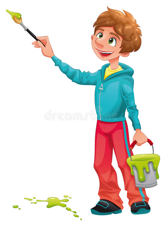 pojkemålare royaltyfri illustrationer