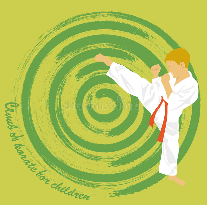 pojken är förlovad i karate royaltyfri illustrationer