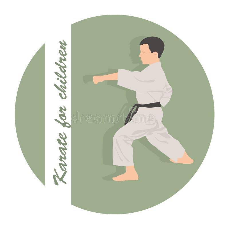 Pojken är förlovad i karate på en grön bakgrund vektor illustrationer