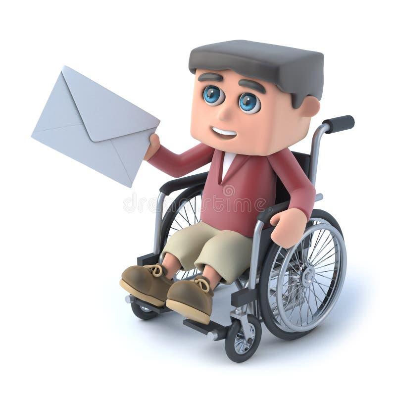 pojken 3d i rullstol får post stock illustrationer