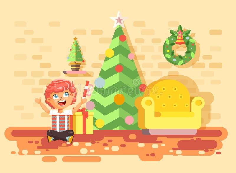 Pojken för rödhåriga mannen för barnet för teckenet för vektorillustrationtecknade filmen sitter under julgranen royaltyfri illustrationer