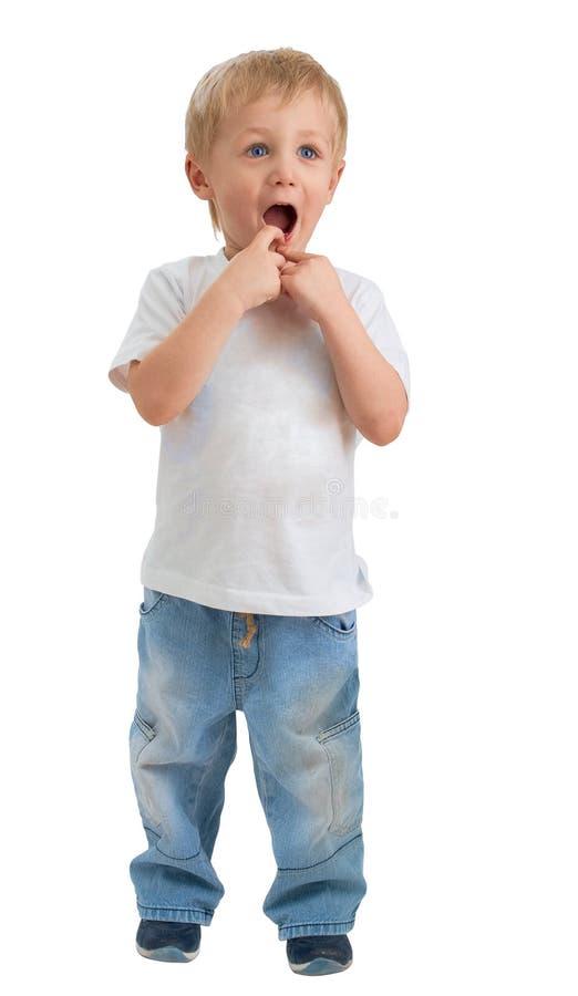 pojken förvånade tre dundersuccéår arkivbilder