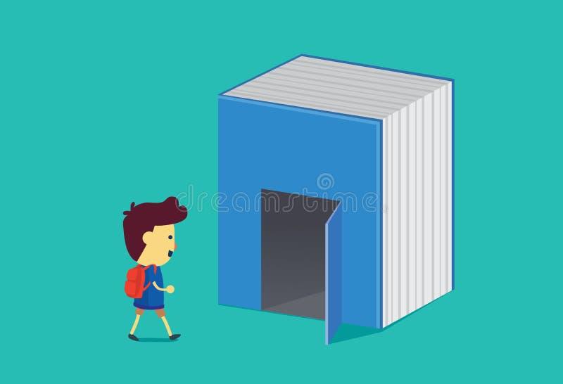 Pojken går in i dörren av den stora boken vektor illustrationer