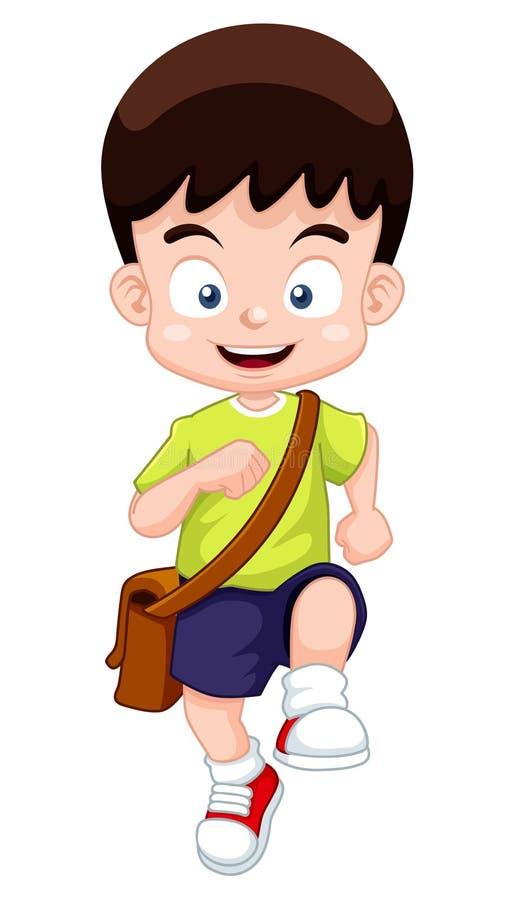 Pojken går till skolan stock illustrationer