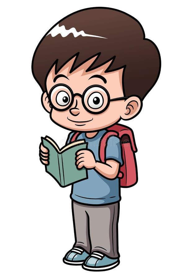 Pojken går till skolar vektor illustrationer