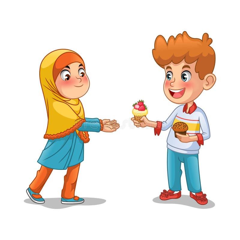 Pojken ger muffin till den muslimska flickan stock illustrationer