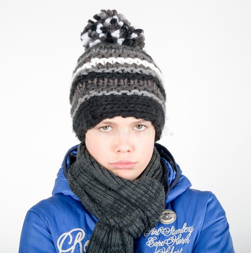 Pojken har en förkylning arkivfoton