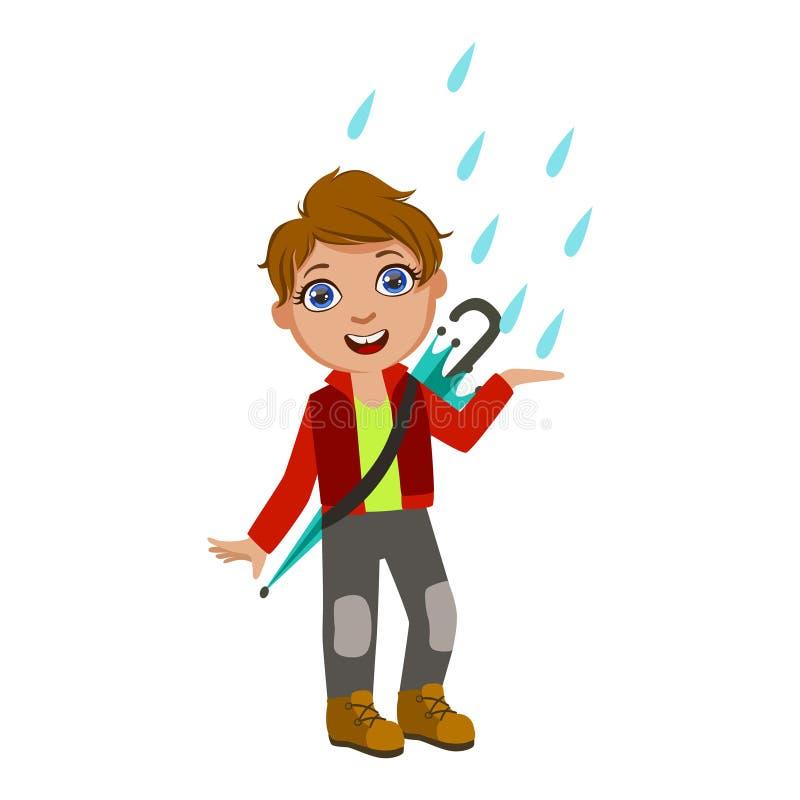 Pojken i det röda omslaget som fångar regndroppar, unge i Autumn Clothes In Fall Season Enjoyingn regn och regnigt väder, plaskar royaltyfri illustrationer