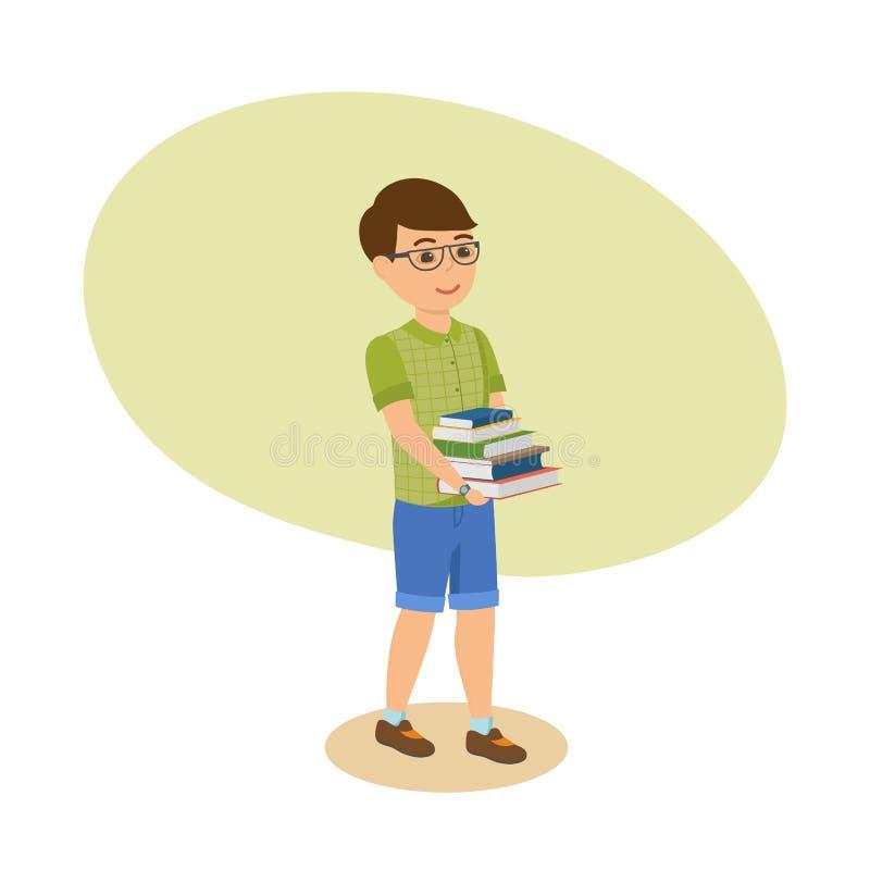 Pojken i exponeringsglas och med litteratur, går från skolaarkiv vektor illustrationer