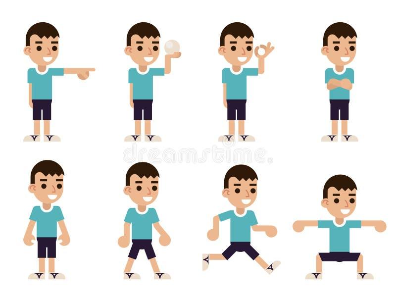 Pojken i olikt poserar och åtgärdar teckensymboler som uppsättningen som framlänges isoleras, planlägger vektorillustrationen vektor illustrationer