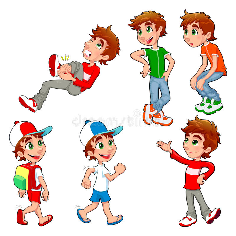 Pojken i olikt poserar och uttryck. stock illustrationer