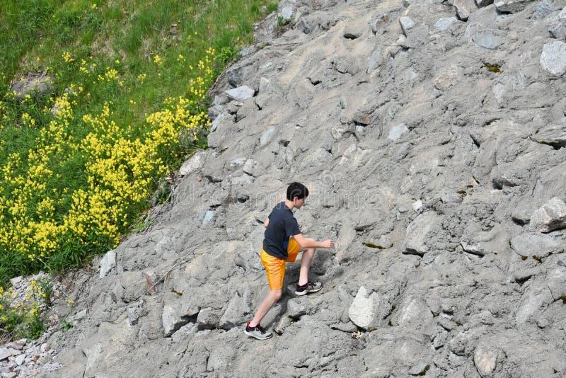 Pojken klättrar Rocky Hill med gula blommor royaltyfri foto