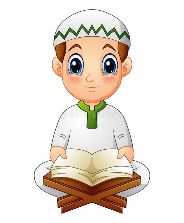 Pojken läste Quran den heliga boken av islam royaltyfri illustrationer