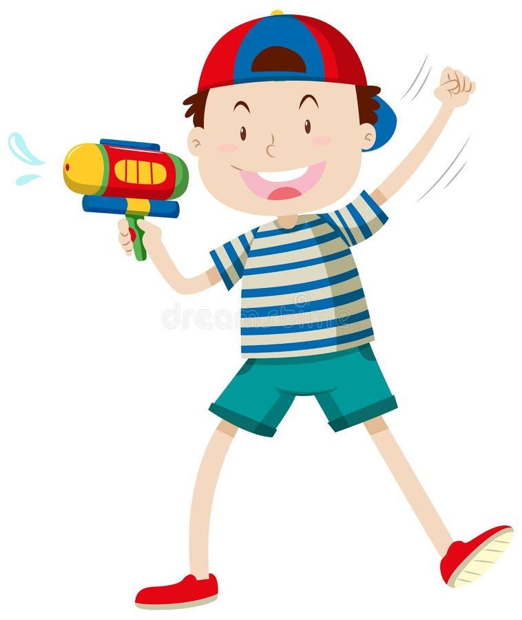 Pojken med bevattnar vapnet stock illustrationer