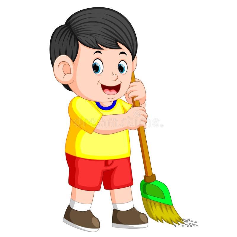 Pojken med det svarta håret sopar avfallet med den gröna kvasten royaltyfri illustrationer