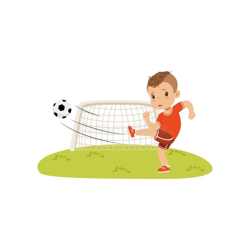 Pojken med fotbollbollen som gör spark på gräsmattan, den ledsna pojken, gjorde poäng inte en målvektorillustration på en vit bak stock illustrationer