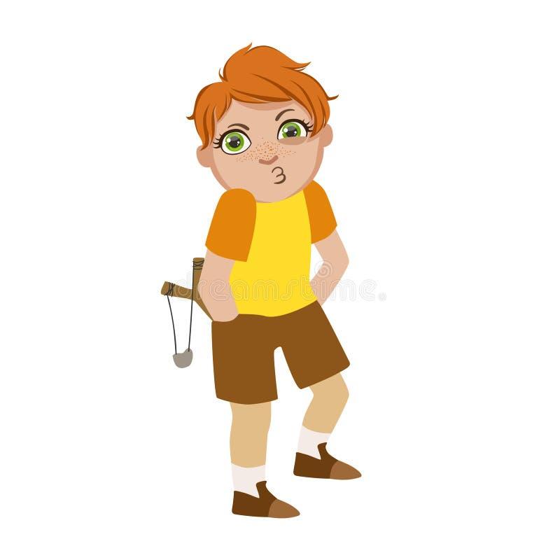 Pojken med katapulten som söker efter problem, del av Bad, lurar uppförande och trakasserar serie av vektorillustrationer med stock illustrationer
