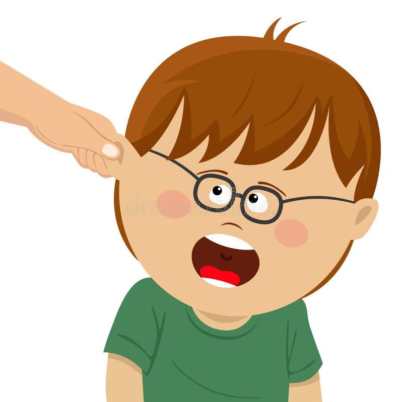 Pojken mottar fysisk bestraffning från vuxna människan Har gripit av ett öra vektor illustrationer