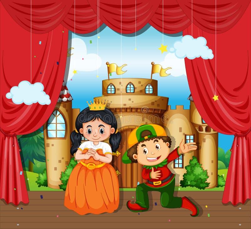 Pojken och flickan utför drama på etapp stock illustrationer