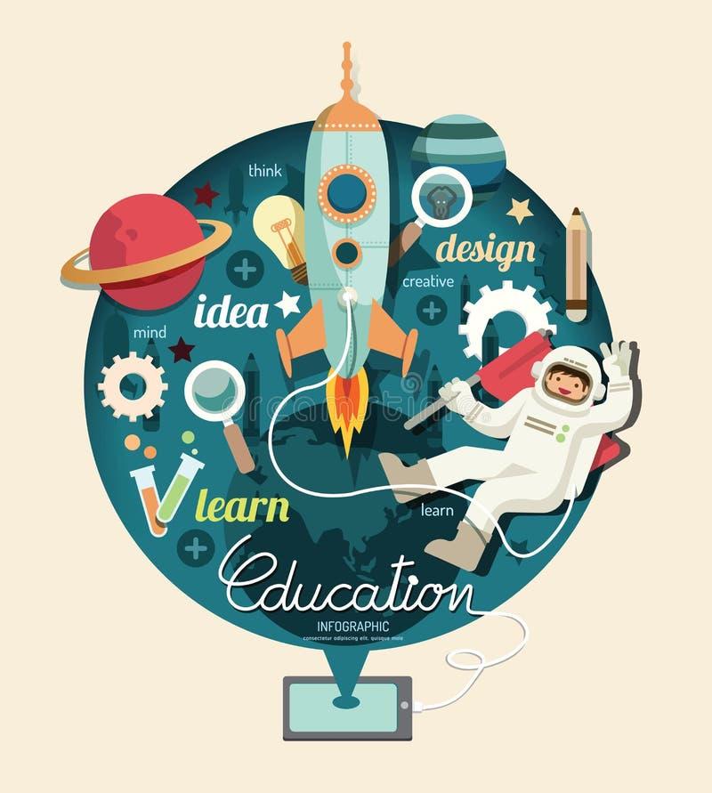 Pojken på utrymme med den infographic raketutbildningsdesignen, lär conc royaltyfri illustrationer
