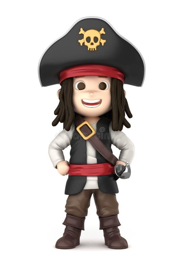 pojken piratkopierar royaltyfri illustrationer