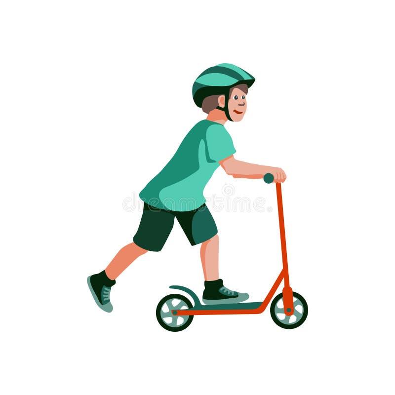 Pojken rider en sparkcykel royaltyfri illustrationer