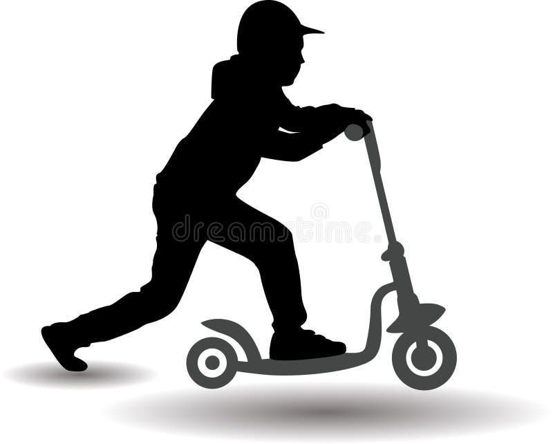 Pojken rullar en sparkcykel royaltyfri illustrationer