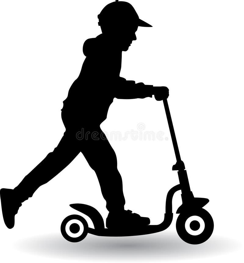 Pojken rullar en sparkcykel stock illustrationer
