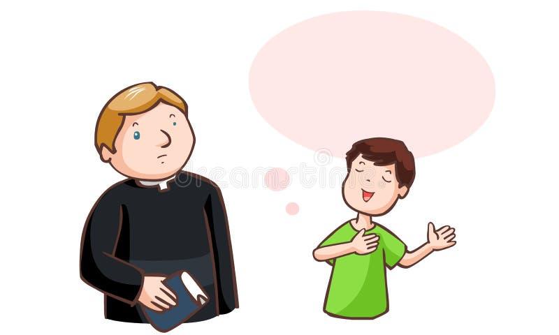 Pojken sade till pastorn stock illustrationer