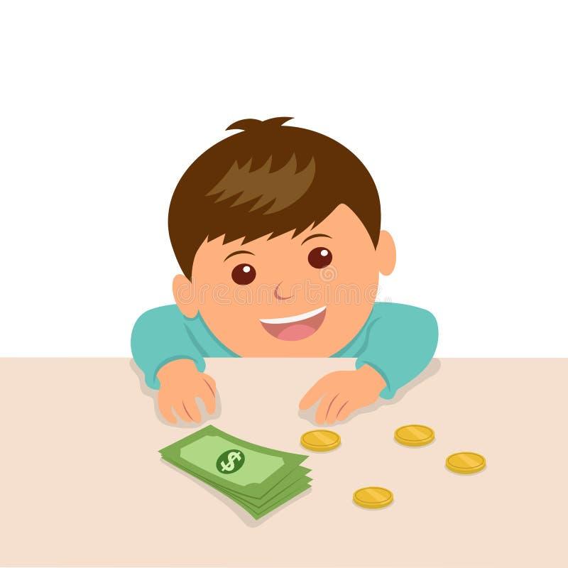 Pojken satte pengarna på tabellen för att beräkna deras besparingar vektor illustrationer