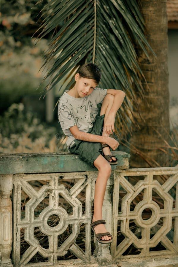Pojken sitter på ett staket royaltyfri foto