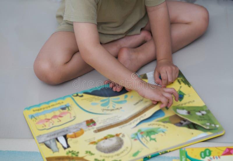 Pojken sitter på golvet som läser den färgglade boken i hem- skola eller learni arkivbild